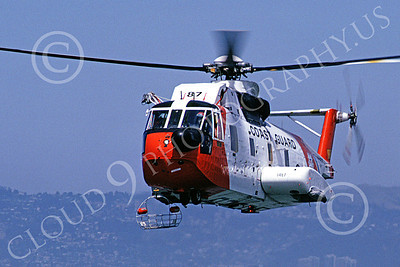 HH-3FUSCG 00006 A flying Sikorsky HH-3F USCG San Francisco Bay 5-1990 helicopter picture by S W D Wolf
