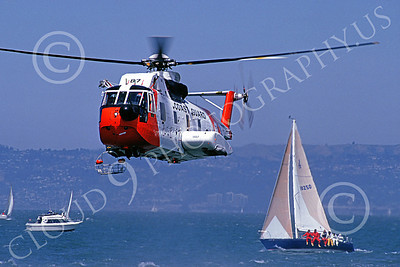 HH-3FUSCG 00002 A flying Sikorsky HH-3F USCG San Francisco Bay 5-1990 helicopter picture by S W D Wolf