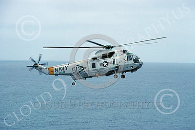 SH-3USN 00034 A flying Sikorsky SH-3 Sea King USN HS-8 EIGHT BALLERS USS Constellation helicopter picture 8-1982 by Peter J Mancus