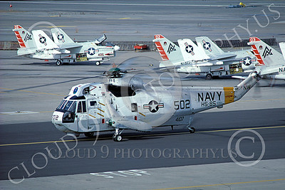 SH-3USN 00031 A taxing Sikorsky SH-3 Sea King USN HS-85 NAS Alameda 6-1986 helicopter picture by Peter J Mancus