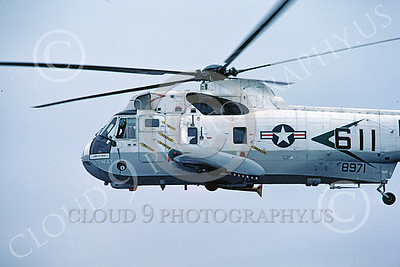 SH-3USN 00032 A flying Sikorsky SH-3 Sea King USN HS-85 HIGH ROLLERS helicopter picture 2-1982 by Peter J Mancus