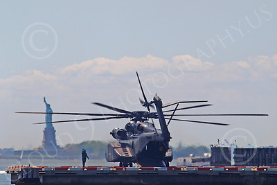 MH-53EUSN 00003 US Navy Sikorsky MH-53E Sea Dragon mine sweeping helicopter near the Statute of Liberty in New York harbor, by John G Lomba