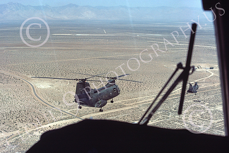 CH-46USMC 00031 An airborne USMC Boeing CH-46 Sea Knight's pilot's forward view, 6-1985, by Peter J Mancus