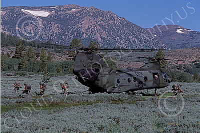 CH-46USMC 00021 Grunts walking away from a USMC Boeing CH-46 Sea Knight, in mountain terrain, 6-1985, by Peter J Mancus