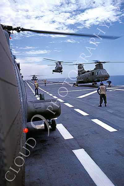 CH-46USMC 00003 USMC Boeing CH-46 Sea Knights on flight deck of a US Navy assaualt aircraft carrier, 6-1985, by Peter J Mancus