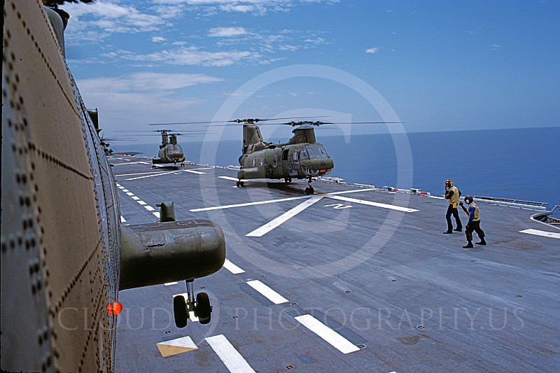CH-46USMC 00020 USMC Boeing CH-46 Sea Knights on USS Tarawa LHA-1, 6-1985, by Peter J Mancus