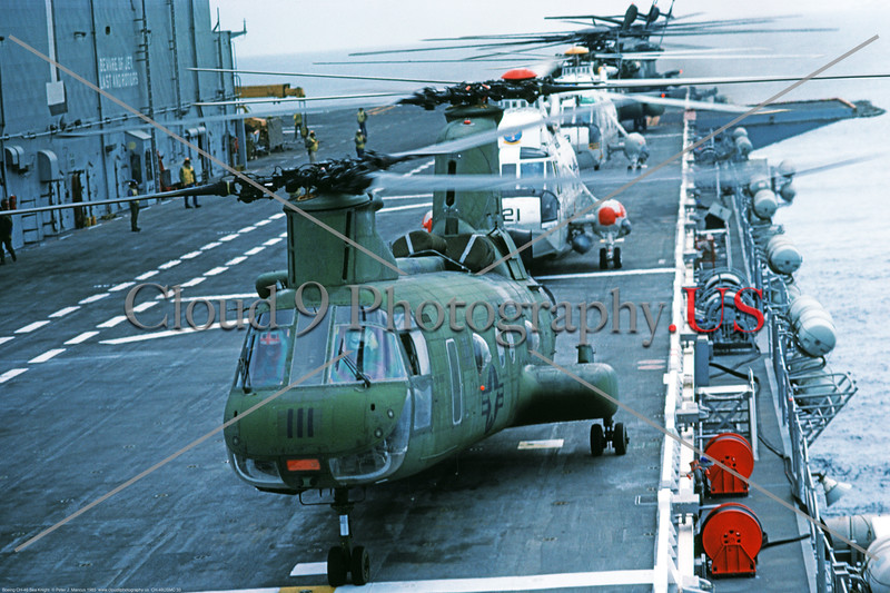 CH-46USMC 00033 A USMC Boeing CH-46 Sea Knight on the USS Tarawa LHA-1 amphibious assault aircraft carrier, 6-1985, military helicopter picture by Peter J Mancus     DONEwt copy
