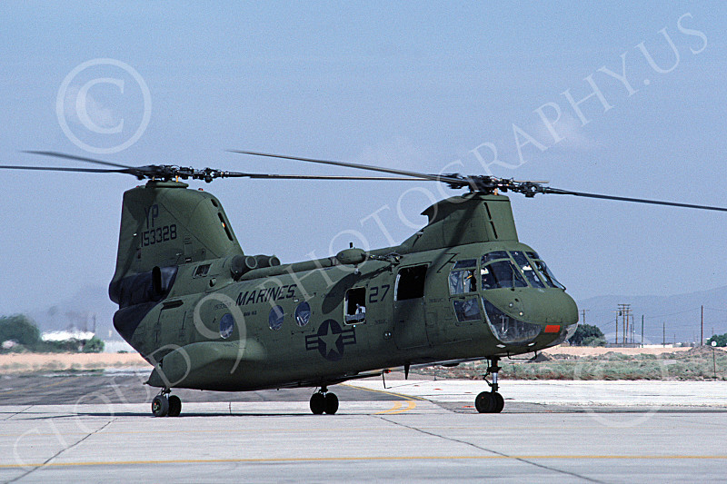 CH-46USMC 00036 A USMC Boeing CH-46 Sea Knight taxis at MCAS Yuma, 10-1983, by Peter J Mancus