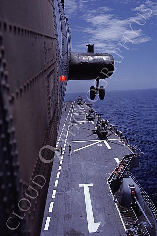 CH-46USMC 00026 A USMC Boeing CH-46 Sea Knight above the USS Tarawa LHA-1, 6-1985, by Peter J Mancus
