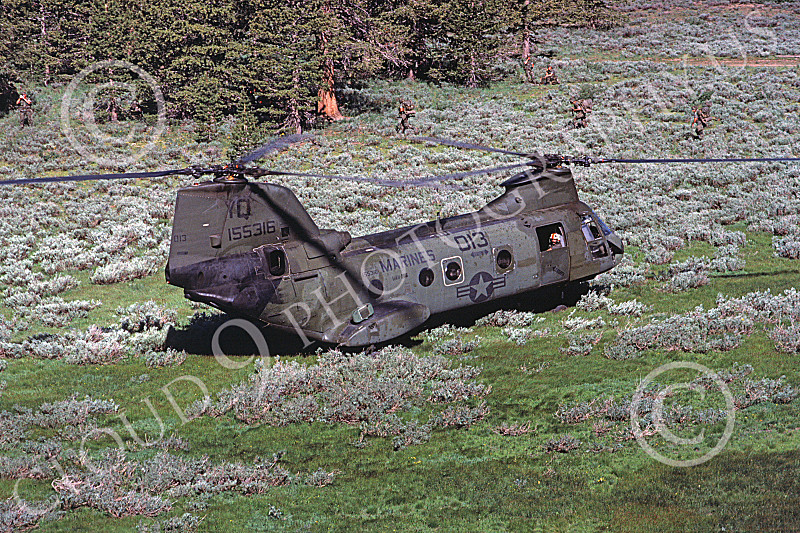 CH-46USMC 00013 A USMC Boeing CH-46 Sea Knight in Camp Pendelton's out back, with grunts, 6-1985, by Peter J Mancus