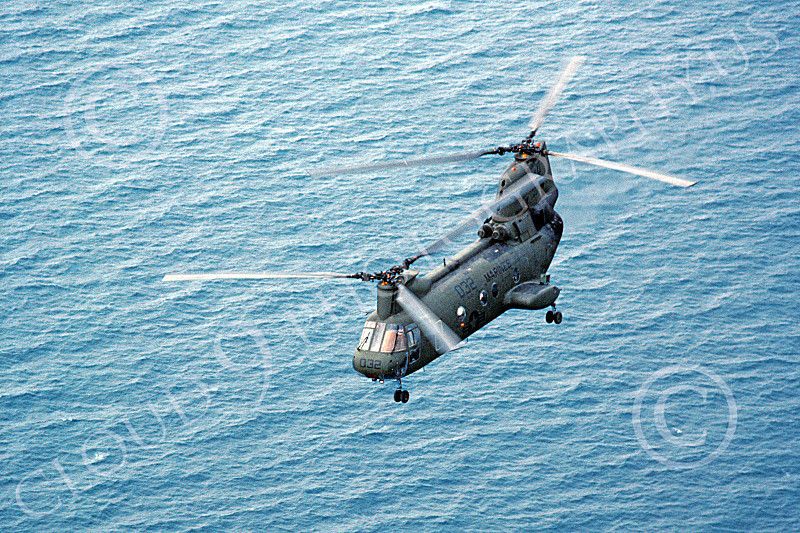 CH-46USMC 00004 A USMC Boeing CH-46 Sea Knight above the ocean, 5-1985, by Peter J Mancus