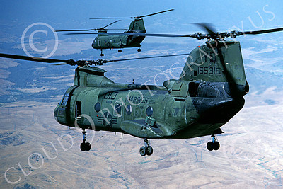 CH-46USMC 00010 Two USMC Boeing CH-46 Sea Knights flying over rural Southern California, 6-1985, by Peter J Mancus