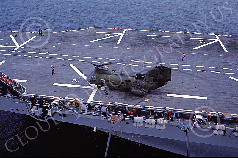 CH-46USMC 00024 A USMC Boeing CH-46 Sea Knight on the USS Tarawa LHA-1, 6-1985, by Peter J Mancus