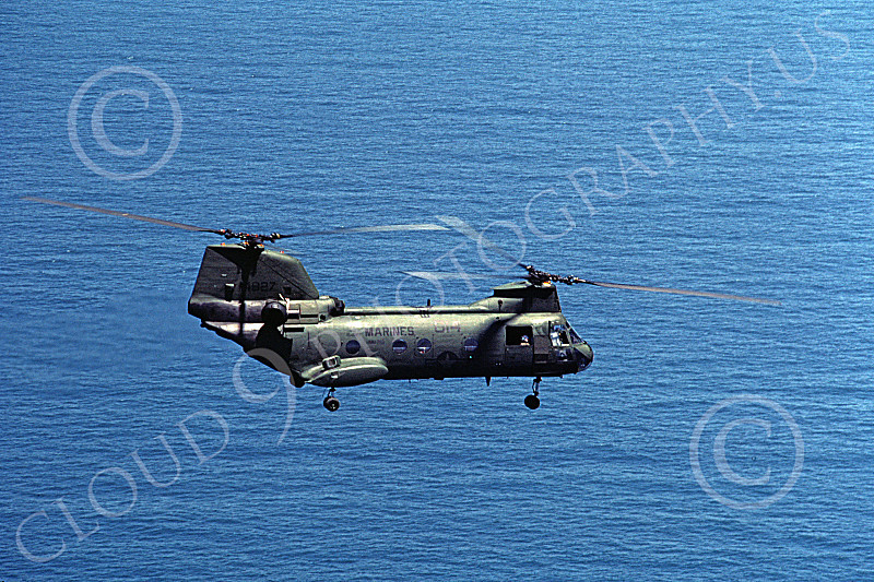 CH-46USMC 00008 A USMC Boeing CH-46 Sea Knight flying over the ocean, 6-1985, by Peter J Mancus