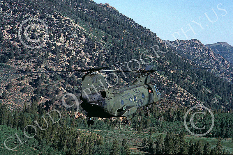 CH-46USMC 00032 A USMC Boeing CH-46 Sea Knight in mountain and forest terrain, 6-1985, by Peter J Mancus