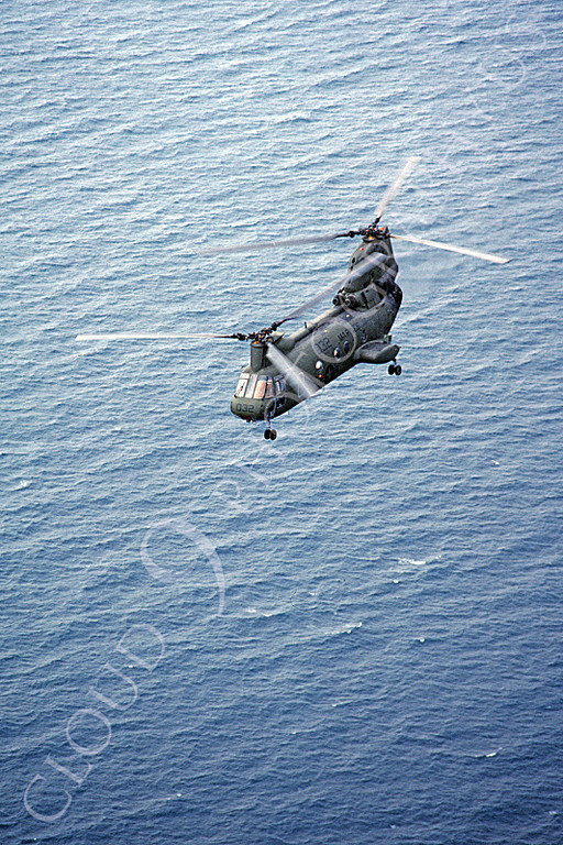 CH-46USMC 00001 A USMC Boeing CH-46 Sea Knight above the ocean, 5-1985, by Peter J Mancus