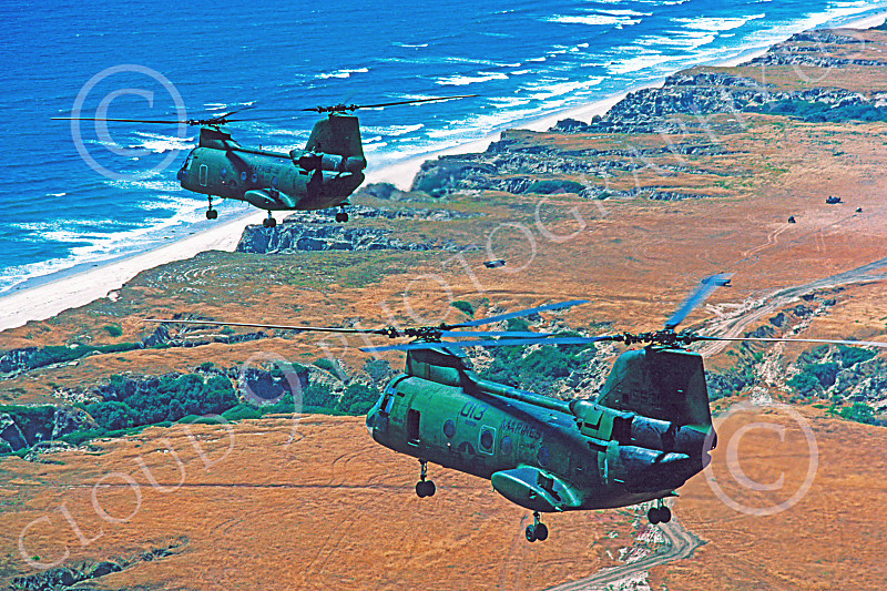 CH-46USMC 00044 Two flying Boeing CH-46E Sea Knights USMC 4-1985 helicopter picture by Peter J Mancus