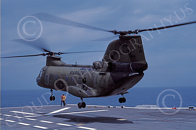CH-46USMC 00002 A USMC Boeing CH-46 Sea Knight lifting off from a US Navy assaualt aircraft carrier, 6-1985, by Peter J Mancus