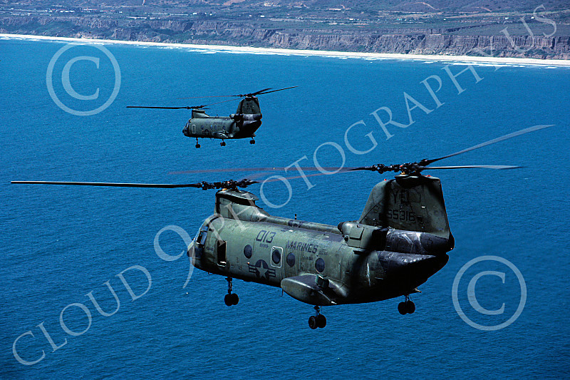 CH-46USMC 00048 Two flying Boeing CH-46E Sea Knights USMC 4-1985 helicopter picture by Peter J Mancus