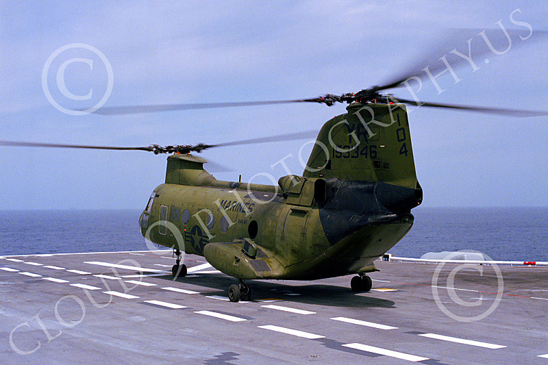 CH-46USMC 00041 A Boeing CH-46E Sea Knight USMC on an aircraft carrier 4-1985 helicopter picture by Peter J Mancus
