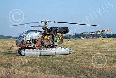 Alouette II 00001 A static Aerospatiale Alouette II Swedish Army 9-1976 helicopter picture by Clive Moggoridge