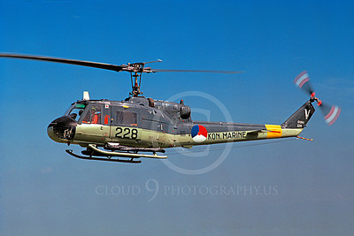 H-1Forg 00006 A flying Bell H-1 Iroquois Huey Royal Netherlands Air Navy 7-1972 helicopter picture by S W D Wolf