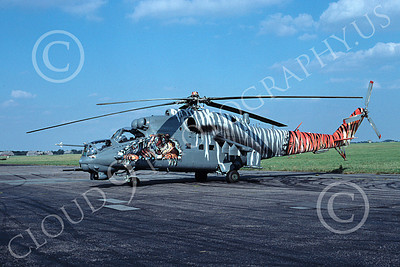 Mi-24 00011 A static, colofrul Mil Mi-24D Hind attack helicopter Czech Air Force 9-2004 by MarinusTabak