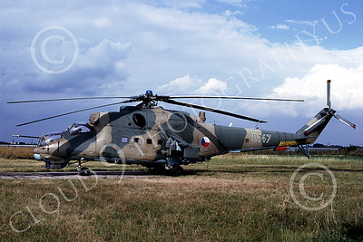 Mi-24 00013 A static Mil Mi-24D Hind Czech Air Force 10-1999 helicopter picture by Joseph Prandini