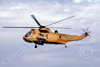 Westland Sea King 00016 A flying yellow Westland Sea King British Royal Air Force helicopter picture 7-1990 by Peter J Mancus