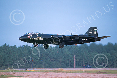 B-57ANG 00004 A landing black Vermont ANG Martin B-57 Canberra 533831 9-1979 military airplane picture by Ray R Leader