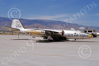 B-57ANG 00015 A static bare metal Nevada ANG Martin B-57 Canberra 21490 Reno 28 July 1965, by William L Swisher