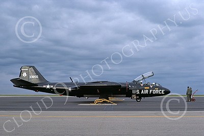B-57ANG 00011 A static black Vermont ANG Martin B-57C Canberra 533856 134 DSES Forbes ANGB 3-1978 military airplane picture by Michael Grove, Sr