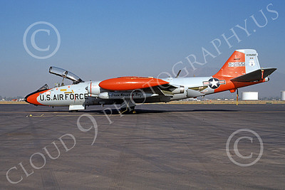 B-57ANG 00005 A static gray-orange Vermont ANG Martin B-57 Canberra 521551 3-1983 military airplane picture by Michael Grove, Sr