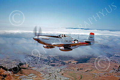 P-51ANG 00008 A superb flying California Air National Guard North American P-51D Mustang airplane picture, 24 June 1951, by William T Larkins