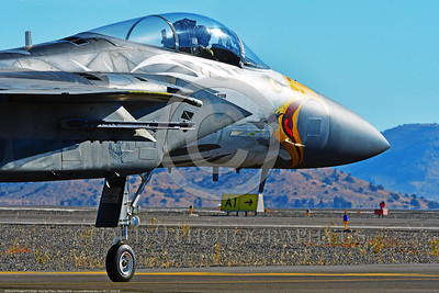 EE-F-15ANG 0008 Close up of colorful nose of a taxing one-of-a-kind paint scheme McDonnell Douglas F-15 Eagle air superiority jet fighter Oregon Air National Guard 79041 at Stead for Reno Air Races 2016 military airplane picture by Peter J  Mancus