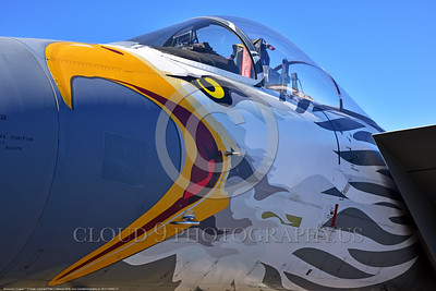 EE-F-15ANG 0017 Awesome nose art on a static colorful one-of-a-kind paint scheme McDonnell Douglas F-15 Eagle air superiority jet fighter Oregon Air National Guard 79041 at Stead for Reno Air Races 9-2016 military airplane picture by Peter J  Mancus