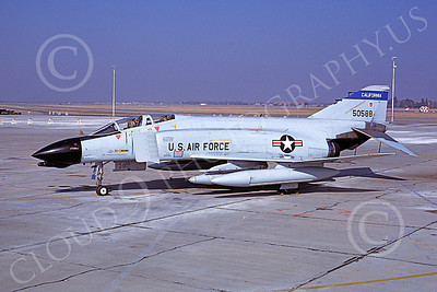 F-4ANG 00139 McDonnell Douglas F-4D Phantom II California Air National Guard 50588 Fresno Dec 1985 military airplane picture by Peter J Mancus