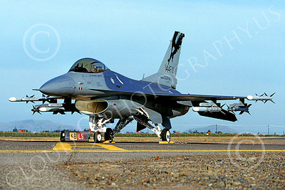 F-16ANG 00141 Lockheed Martin F-16 Fighting Falcon California Air National Guard Fresno March 1991 by Peter J Mancus