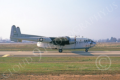 C-119ANG 00001 A taxing Fairchild C-119 Flying Boxcar California ANG 38076 McClelland AFB 4-1994 military airplane picture by Peter B Lewis