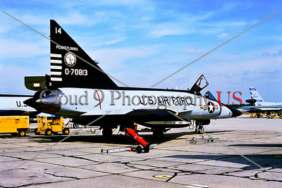 F-102A-ANG-PA 001 A static Convair F-102A Delta Dagger Pennsylvania ANG anti-bomber interceptor 0-70813 112th FTR GP Tyndall AFB 10-1974 by Stephen W  D  Wolf     BBB_3225     DWT