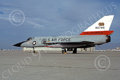 F-106AANG 00101 A static Convair F-106A Delta Dart California ANG 80780 144th FW 194th FS GRIFFINS NAS Moffett 12-1980 military airplane picture by Michael Grove, Sr
