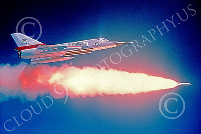 F-106ANG 00008 A Convair F-106A Delta Dart California ANG fires a missile, probably a Genie nuclear tipped massed anti-bomber missile, Official California ANG picture produced by Peter J Mancus of Cloud 9 Photography