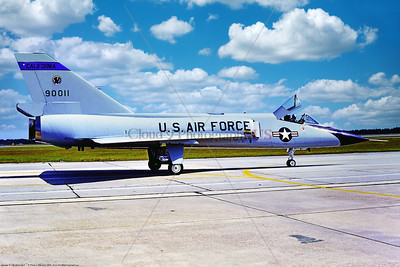 F-106A-ANG-CA 002 A taxing Convair F-106A Delta Dart all weather fighter-interceptor, CA ANG 90011, 144 FW 194 FS GRIFFINS, 11-1976 Tyndall AFB, during William Tell, 10-1982 Tyndall, military airplane picture by Peter J  Mancus   GGG_0385   Dt