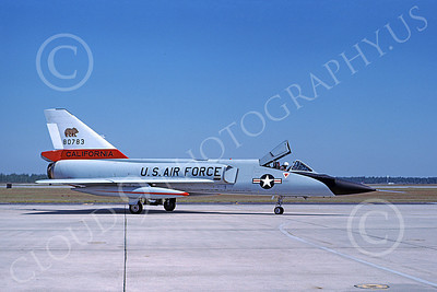 F-106AANG 00103 A taxing Convair F-106A Delta Dart California ANG 80783 144th FW 194th FS GRIFFINS Tyndall AFB 10-1983 military airplane picture by L B Sides