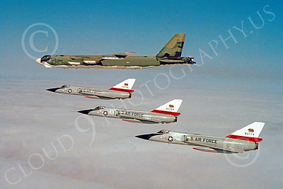 F-106ANG 00012 Convair F-106 Delta Darts figher interceptors California ANG in formation with a Boeing B-52 strategic bomber, Official California ANG picture produced by Peter J Mancus of Cloud 9 Photography