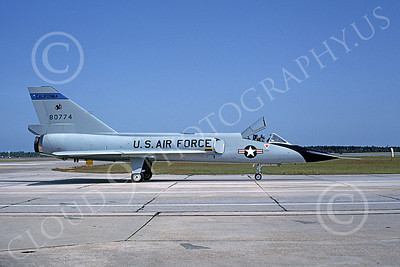 F-106AANG 00105 A taxing Convair F-106A Delta Dart California ANG 80774 144th FW 194th FS GRIFFINS Tyndall AFB 10-1982 military airplane picture by L B Sides