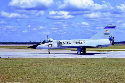 F-106A-ANG-CA 003 A taxing Convair F-106A Delta Dart all weather fighter-interceptor, CA ANG 90020, 144 FW 194 FS GRIFFINS, 11-1976 Tyndall, William Tell, military airplane picture by Peter J  Mancus   GGG_0389  Dt