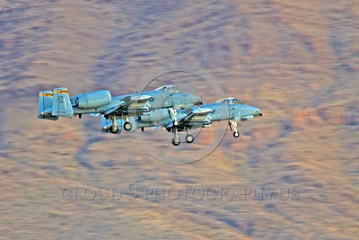 A-10ANG-CT 0004 Two Fairchild A-10 Thunderbolt IIs Connecticut Air National Guard land at Nellis AFB during Red Flag military airplane picture by Peter J Mancus