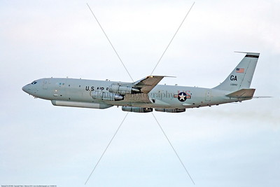 E-8ANG 00002 A flying Boeing E-8 Joint Stars Georgia Air National Guard 960043 GA tail code military airplane picture by Peter J Mancus