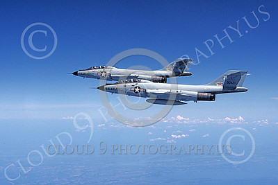 F-101BANG 00004 Two flying McDonnell F-101B Voodoos New York ANG 90421 and 90412 7-1981 military airplane picture by Don Linn